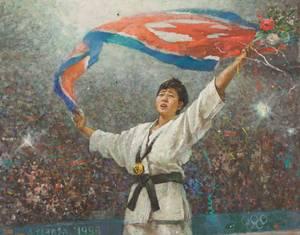 Han Hŭi-bok (Central Arts Studio), Kye Sun-hŭi, Noord-Koreaanse judo atlete die verrassend als 16-jarige een gouden medaille veroverde tijdens de Olympische spelen in Atlanta), olieverf op doek, collectie Ronald de Groen