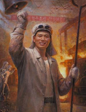 Il-sŏn en Sŏng-ho, Het gieten van het eerste staal, (slogan refereert aan titel eerste toespraak Kim Il Sung, 14 oktober 1945), z.j., werk op papier, collectie Ronald de Groen