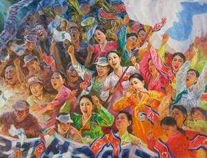 Rim Myŏng-il (Nampo City Art Studio), De echo van Pusan, 2003, olieverf op doek. Noord-Koreaanse cheerleaders tijdens Aziatische spelen in Pusan (Zuid-Korea), collectie Ronald de Groen